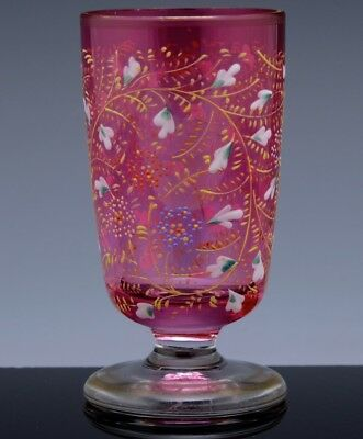 BEAUTIFUL 19thC VICTORIAN MOSER ENAMELED CRANBERRY GLASS FOOTED WINE TUMBLER CUP