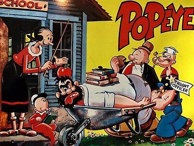 Vintage Metal Popeye and Friends Lunch Box from 1964