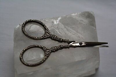 Antique Old Vintage Sterling Silver Ornate Scissors