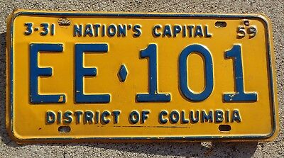 District of Columbia 1958 - 59  license plate #  EE - 101