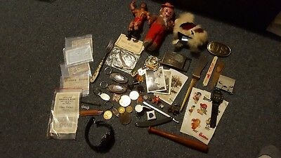 Junk Drawer Lot - Vintage Pins, Toys, Ephemera, Tokens and More