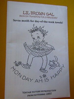LIL BROWN GAL Iron on Transfers for Embroidery motifs for day of the week towels