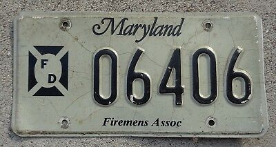 Maryland Firemens Assoc license plate #  6406