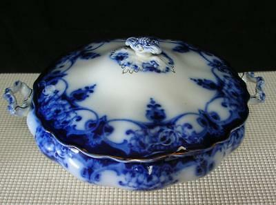 "Antique ""MONARCH"" FLOW BLUE COVERED TUREEN DISH by MYOTT STAFFORDSHIRE c1900"