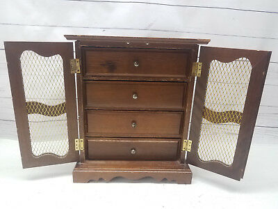 Vintage Toyo Music Jewelry Box Wood Amoire Style Gold Velvet Lining 4 Drawers