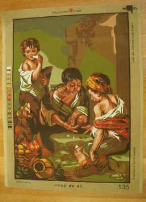 Large vintage Tapestry canvas to stitch, 3 children classic scene, European