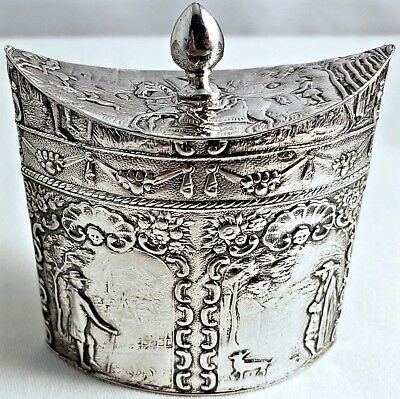 Antique Chinese Export 85gr STERLING SILVER REPOUSSE BOAT SHAPED TEA CADDY NR