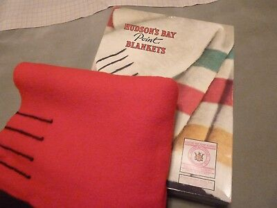 """HUDSON'S BAY 4 POINT SCARLET RED WOOL BLANKET IN ORIGINAL BOX -APPROX. 72"""" x 90"""""""