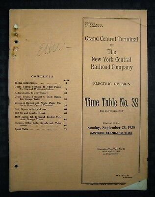 GRAND CENTRAL TERMINAL - NYC RR - Electric Division Employee Timetable -1930