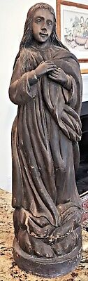 """c1800's Antique Carved Wood 27"""" Tall 23lb BLESSED VIRGIN MARY SANTOS NR"""