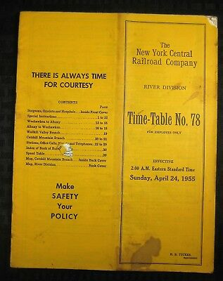 NEW YORK CENTRAL Railroad - River Division - Employee Timetable - 1955