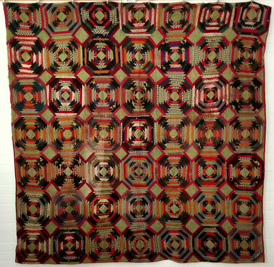 WINDMILL BLADES Antique c.1880's LOG CABIN QUILT  Lancaster County Pennsylvania