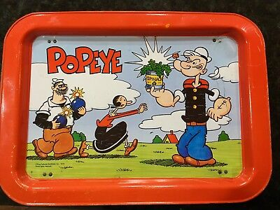 Popeye Metal Lap Tray Folding Legs 1979 Vtg King Features Olive Oyl Bluto Rare!