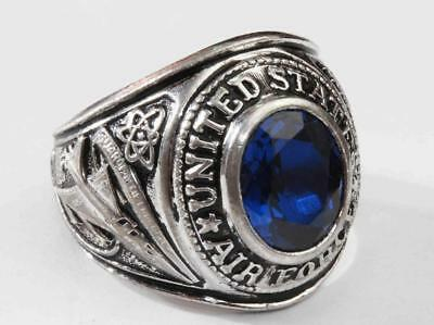 1960s vintage Sterling Silver U.S. AIR FORCE RING - Solid Back with Blue Stone