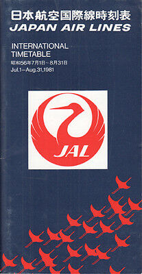 JAL Japan Air Lines timetable 7/1/81