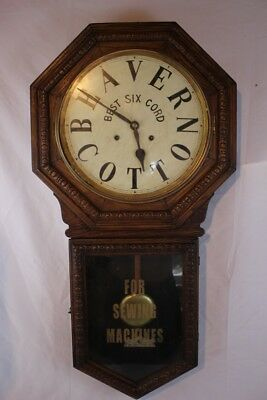 Antique BEAVER COTTON SIX CORD FOR SEWING MACHINES ADVERTISING WALL CLOCK