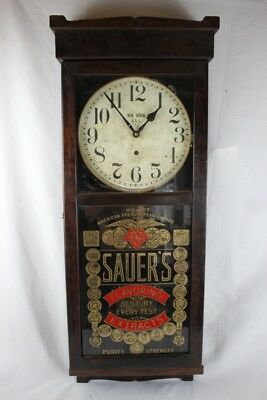 Antique NEW HAVEN WALL REGULATOR ADVERTISING CLOCK SAVER'S FLAVORING 7 EXTRACTS