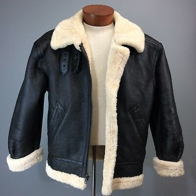 dd743e6de VTG LEATHER SHEARLING USAF TYPE G-8 Bomber Jacket Espresso Brown