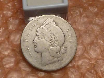 1897 Dominican Republic Un Peso Silver Coin #1