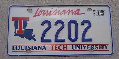 Louisiana Tech University license plate  #  2202