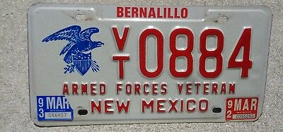 New Mexico 1992 / 93 Armed Forces Veteran license plate #  884