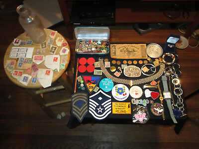 Junk Drawer Lot old coins watches old bottle ring jewelry old bottle old marbles