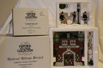 """Dept 56 Dickens Village Series """"COBLES POLICE STATION"""" and Set of 3 """"CONSTABLES"""""""