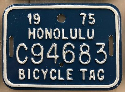 1975 Blue Hawaii Bicycle License Plate Retro Authentic New Unused Mint #C94683