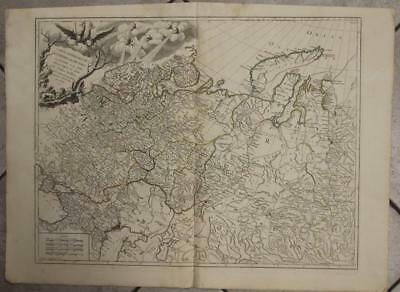 European Russian Empire Russia Baltic Countries 1753 Vaugondy Antique Map