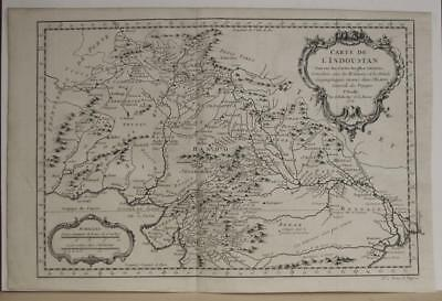 Northern India Pakistan Nepal Tibet 1752 Bellin Antique Copper Engraved Map