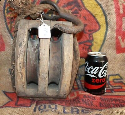 Vintage Handmade Primitive Amish Wooden Double Block Barn Pulley w/wooden wheels