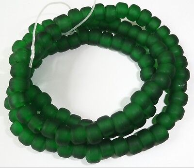 """Strand of Green Crow Glass Trade Beads ... 9x5mm ... 24"""""""