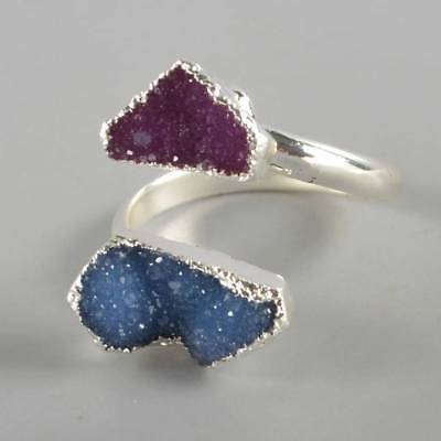 Size 8 Hot Pink & Blue Agate Druzy Geode Adjustable Ring Silver Plated B070892