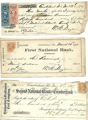 1870's Cumberland MD Bank Checks, Revenue Stamps