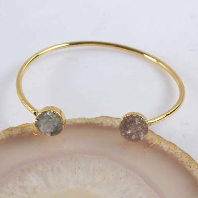 Defective Natural Agate Druzy Geode Bangle Gold Plated H123884
