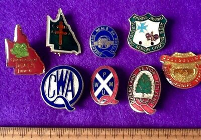 Collector QUEENSLAND Lot (8) Badges Pins VINTAGE Meals on Wheels +  .. FREE Post