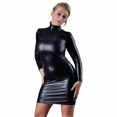 Cottelli Collection Party Wetlook Kleid Stehkragen schwarz XL Dress Partykleid