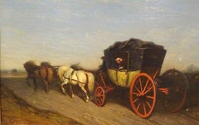 19th Century French Horse & Carriage Landscape Scene Ernest Louis SEIGNEURGENS