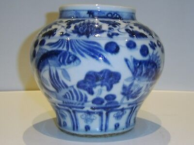 Unusual Chinese Blue White Vase Fish Decoration - Part Old Antique Collection
