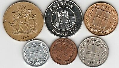 6 different world coins from ICELAND