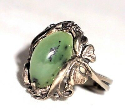 Art Nouveau Desogn Russian Soviet Pale Green 100% Natural Jade Coctail Ring 8 P