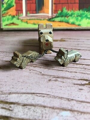 VTG Wood Carved  Wooden TERRIER Dog Family w/ pups on chain marked ITALY