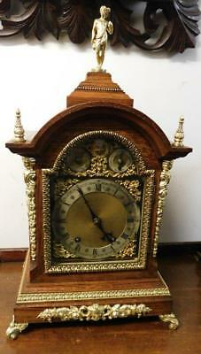 lARGE OAK AND BRASS BRACKET CLOCK BY WINTERHALDER & HOFFMEIR, TING TANG STRIKE