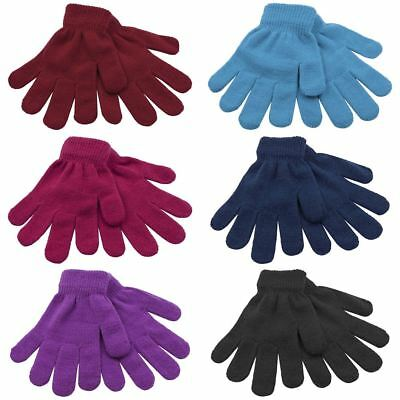 2 Pairs Boys Girls Childrens Kids Thermal Magic Stretch Gloves GL105