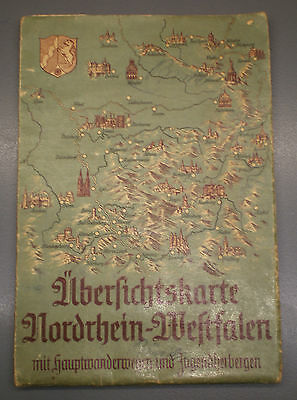 Outline Map of Nordrhein-Westfalen with Hiking Trails and Hostels