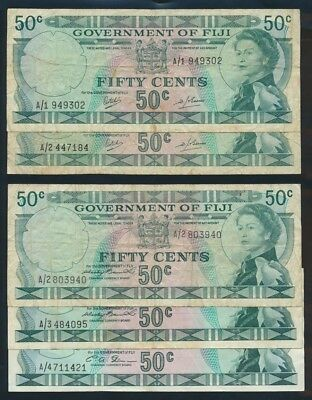 "Fiji: 1969-71 50 Cents QEII Portrait ""SCARCE SET 5 DIFF BY PREFIX"". Pick 58a-64b"