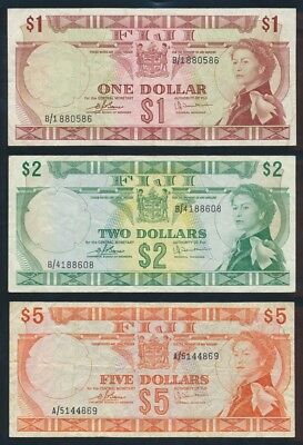 "Fiji: 1974 $1, $2 & $5 QEII Sig Barnes-Tomkins ""SET OF 3 NOTES"". Pick 71b to 73c"