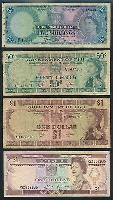"Fiji: 1964-2002 5/- to $5 ""COLLN 12 DIFFERENT QEII PORTRAIT NOTES"". P51d-104a"