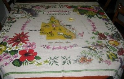 Collectable/australiana Tablecloth ~ Queensland ~ Pure Linen ~ Square