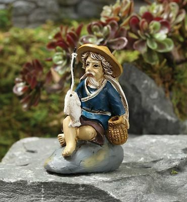 Miniature Dollhouse Fairy Garden Zen Fishing Mud Man- Buy 3 Save $5